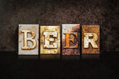 Beer Letterpress Concept on Dark Background — Stock Photo