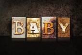 Baby Letterpress Concept on Dark Background — Stock Photo