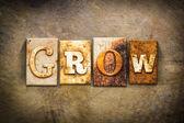Grow Concept Letterpress Leather Theme — Stock Photo