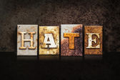 Hate Letterpress Concept on Dark Background — Stock Photo