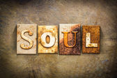 Soul Concept Letterpress Leather Theme — Stock Photo