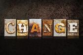 Change Letterpress Concept on Dark Background — Stock Photo