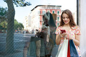 Attractive woman shopping with smartphone — Stock Photo