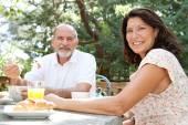 Couple having a breakfast — Stock Photo