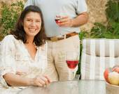 Couple drinking wine in the resort — Stock Photo