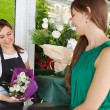 Woman buys a bouquet of flowers — Stockfoto #79001004