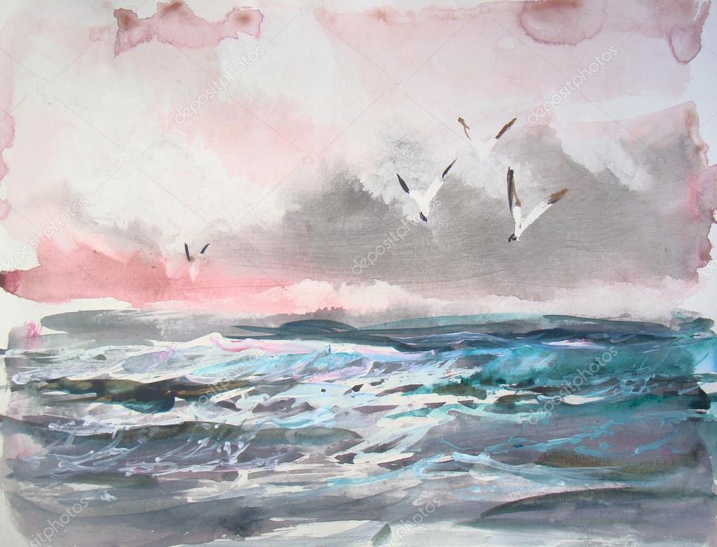 Vista sul mare dellacquerello pittura foto stock for Paesaggi marini dipinti