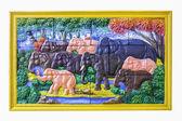 Decoration elephant craving tile — Stock Photo