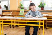 Preschool boy doing enrollment to school — Stock Photo