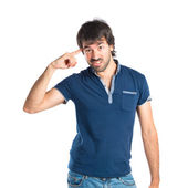 Man making crazy gesture over white background — Stock Photo