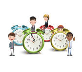 Business people with vintage clocks over white background  — Stock Vector