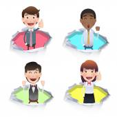 Business people inside hole paper. Vector design.  — Stock Vector