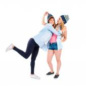 Friends with hats over white background — Stock Photo