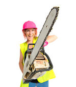 Worker woman with chainsaw over white background — Stock Photo