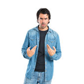 Man having doubts over isolated white background — Stock Photo