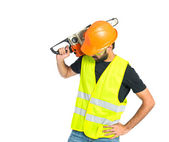 Workman with chainsaw over white background — Stock Photo