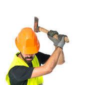 Workman with ax over white background — Stock Photo