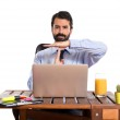 Businessman in his office making time out gesture — Stock Photo #57385455