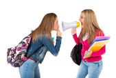 Student shouting at her friends over white background — Stock Photo