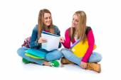 Students learning over isolated white background — Stock Photo