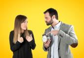 Angry man because his girlfriend talk so much on telephone — Stock Photo