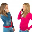 Student women talking to mobile over white background — Stock Photo #59031709