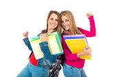 Lucky students over isolated white background   — Stock Photo