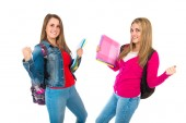 Lucky students over isolated white background   — Foto de Stock