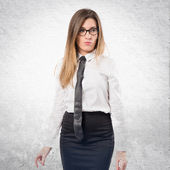 Young businesswoman over isolated white background — Stock Photo