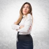 Schattig zakenvrouw denken een idee over geïsoleerde Wit Chtergro — Stockfoto