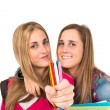 Students holding crayons over white background — Stock Photo #60525487
