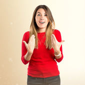 Young girl surprised over white background  — Foto de Stock