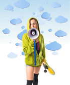 Young girl shouting over clouds background — Stock Photo