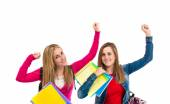 Lucky students over isolated white background — ストック写真