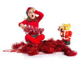 Surprised little girl with christmas elements — Foto de Stock