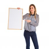 Woman holding empty placard — Stock Photo