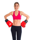 Sport woman with boxing gloves — Stock Photo