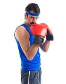 Crazy sportman with boxing gloves  — Foto Stock