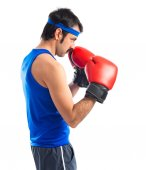 Vintage sportman with boxing gloves  — Foto Stock