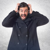 Frustrated man over white background — Stock Photo