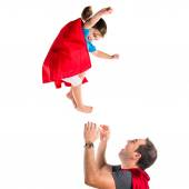 Familjen klädd som superhjälte — Stockfoto