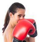 Sport kvinna med boxhandskar — Stockfoto
