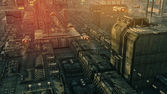SCIFI city and ships — Stock Photo