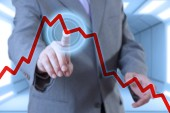 Businessman touch screen with chart — Stock Photo