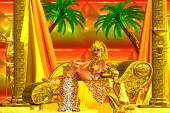 Egyptian goddess lying down on a chaise lounge being served a bowl of fruit by a solid gold servant. — Stock Photo
