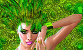 Green Feathers adorn the head of a digital fashion model. — Stock Photo