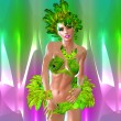 Carnival Dancer against colorful background. Modern digital art style. — Stock Photo #58679885