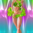 Carnival Dancer against colorful background. Modern digital art style. — Stock Photo #58679893