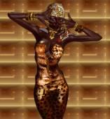 Africká americká žena v leopardí tisku módní s krásnou kosmetiky a hlavu šátek. Představují moderní Vogue. — Stock fotografie