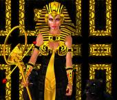 Egyptian Woman Pharaoh with black panther. Modern digital art fantasy. — Stock Photo